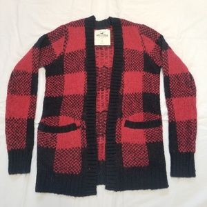 Hollister open front sweater plaid